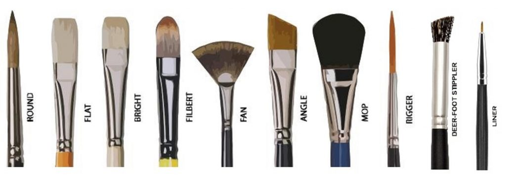 PAINT BRUSHES TYPES AND SHAPES